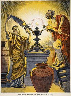 YELLOW JOURNALISM, 1909. American cartoon by Joseph Keppler Jr., 1909, castigating the 'High Priests' of Yellow Journalism, William Randolph Hearst (left) and Joseph Pulitzer.