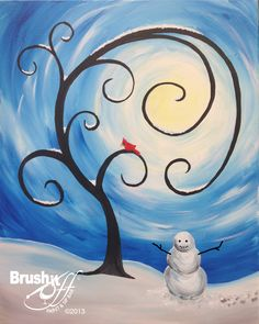 Snow man painting in the snow with whimsical curling swirling tree and swirls around the sun. Winter Scene Paintings, Winter Painting, Christmas Paintings, Winter Art, Easy Paintings, Oil Paintings, Winter Time, Painting & Drawing, Watercolor Paintings