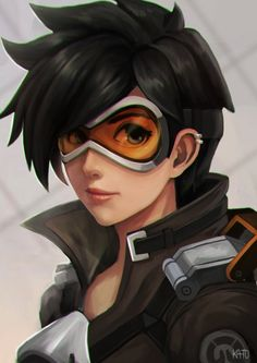 Anime picture 1654x2339 with overwatch tracer (overwatch) kato-artist single tall image short hair looking at viewer black hair simple background brown eyes signed light smile upper body portrait piercing spiked hair ear piercing girl goggles
