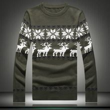 2016 Atutmn&Winter New Fashion Men's Sweaters Male Christmas Sweaters O-Neck Long Sleeve Knitted Deer Print Sweaters M632(China (Mainland))