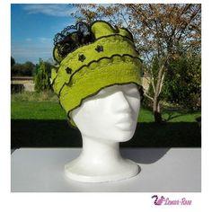 Bonnet d'hiver femme vert anis et noir Elégance en laine bouillie : Chapeau, bonnet par lemur-rose
