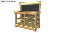 Step by step woodworking project about potting bench plans with sink. Building a potting bench with a sink is a must have project for any amateur gardener. Potting Bench With Sink, Potting Bench Plans, Outdoor Potting Bench, Potting Tables, Outdoor Table Plans, Garden Sink, Garden Table, Shed Kits, Bench Designs