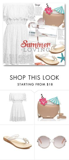 """""""Summer Style: White Lace Dress"""" by beebeely-look ❤ liked on Polyvore featuring Kate Spade, Chloé, BHLDN, Summer, lace, lacedress, summersandals and rosegal"""