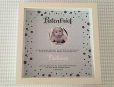 Baby- & Geburtskarten - Personalisierter Patenbrief mit Rahmen Punkte - ein Designerstück von Garlanda-DIY bei DaWanda