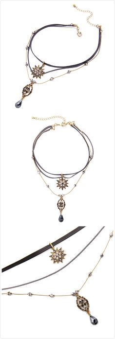 Free Shipping Black Gemstone Vintage Rhinestone Pendant Layered Choker Necklace For Women