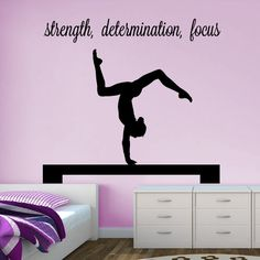 "Gymnast Handstand on Beam ""strength, determination, focus"" Wall Decal - Vivid Wall Decals. Removable vinyl wall art decals. Gynastics - can be personalized with your own inspirational words."
