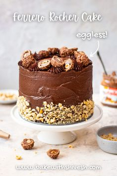 An eggless ferrero rocher cake for each and every one of us to devour, indulge into, and enjoy! This cake has layers of a chocolate and hazelnut sponge, milk chocolate ganache, and some ferrero chocolate chunks. It's silky smooth, decadent, and an absolute treat to make. Ferrero Rocher, Ferrero Chocolate, Whipped Chocolate Ganache, Decadent Chocolate, Chocolate Cream, Ganache Frosting, Hazelnut Cake, How To Roast Hazelnuts, Forest Cake