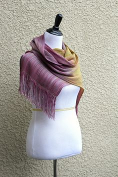 Hand woven gradient scarf in pink fuchsia mustard yellow extra long scarf with fringe