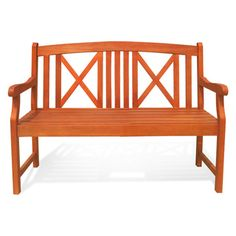 Vifah Bradley W X L Eucalyptus Patio Bench Outdoor Garden Bench, Patio Bench, Wood Patio, Patio Seating, Patio Dining, Dining Bench, Outdoor Decor, Outdoor Benches, Outdoor Spaces