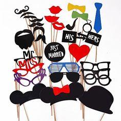 Tinksky 31-in-1 DIY Brille Schnurrbart roten Lippen Fliege auf Sticks Hochzeit Geburtstag Party Foto Booth Props