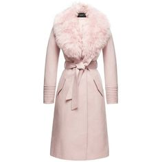 SENTALER Luxury Outerwear: Long Coat with Fur Collar - Blush ($1,560) ❤ liked on Polyvore featuring outerwear, coats, fur coat, longline coat, pink fur coat, long length coats and long coat