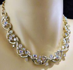 Vintage Signed Coro Choker Necklace Clear Rhinestones Silver Tone Adjustable #Coro #Choker
