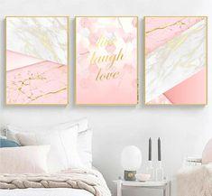 Set of 3 geometric prints marble gold pink Printable wall art set Digital Prints modern home decor bedroom Rose Gold Room Decor, Gold Bedroom Decor, Gold Wall Decor, Pink Wall Art, Wall Art Sets, Pink Accent Walls, Pink Walls, Pink Bedroom For Girls, Pink Room