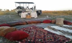 Joining us for sundowners at Savuti Camp this evening? We're ready and waiting! Game Lodge, Retreat Ideas, Game Reserve, Wilderness, Interior And Exterior, Safari, Waiting, Interiors, Decorating