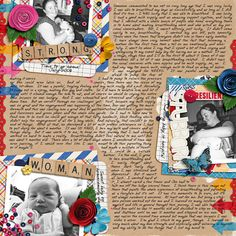 """Strong Subborn Woman by Sara (MisfitInMN)  The 3's a Charm journaling templates were perfect for this layout that focuses on journaling yet draws you to the pictures by the beautiful clustering and bright colors mixed with the black and white photos. We love the """"&"""" she used in the middle....it brings it all together.    Beautiful!"""