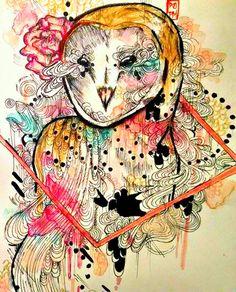 4x6 inch art print of a watercolor barn owl by ArtOfPrincessM