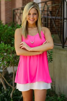 Racerback Hot Pink Dress with White Stripe
