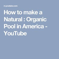 How to make a Natural : Organic Pool in America - YouTube