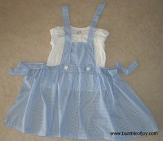 Instead of making a Dorothy (from Wizard of Oz) dress, @bumbleofjoy made an apron instead. Genius! Easy on, easy off, no pattern required!