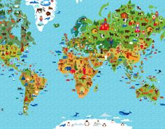 detailed vector world map with huge set of icons