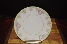 """Silesia Porcelain Hand Painted Pink Floral Green Edge 7 1/2"""" Plate #Silesia"""
