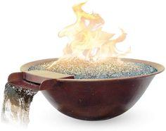 "Amazon.com: Custom Cascade 30""x9"" Luna Fire/Water Bowl Elec -NG 70lb Glass: Garden  Outdoor Outdoor Heaters, Patio Heater, Copper Fire Pit, Cascade Water, Fire Pit Bowl, Water Glass, Outdoor Gardens, Decorative Bowls, Glass Garden"