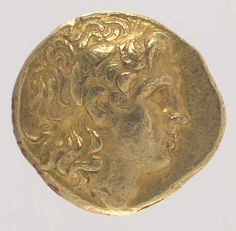 Gold stater MET MUSEUM  From the beginning of his reign, Alexander the Great envisioned himself as the champion of the Greeks against the Persians and their other enemies, and his choice of coin types and the image chosen by subsequent Macedonian rulers were apparently influenced by the concept. On the obverse of this gold stater is the head of the deified ruler wearing a diadem with ram's horns; on the reverse is an image of a seated Athena crested with a Corinthian helmet, and a flying…