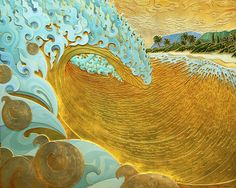 Troy Carney - Po'i Nã Nalu, Where the Wave Break, oil gold on gold on wood bas-relief. An Awesome Wave, Amazing Art, Key West Style, Crown Art, Hawaiian Art, Water Art, Surf Art, Beach Art, Art Projects