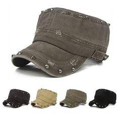 b6696c80d0f Women Men Rock Rivet Punk Hole Army Curved Visor Hat Cadet Military  Baseball Cap