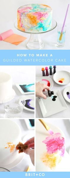 to Make a Gilded Watercolor Cake That Will Majorly Impress Your Guests Make this gorgeous watercolor cake for your next get-together this summer.Make this gorgeous watercolor cake for your next get-together this summer. Cake Decorating Techniques, Cake Decorating Tutorials, Cookie Decorating, Decorating Cakes, Cake Decorations, Decorating Ideas, Pretty Cakes, Beautiful Cakes, Amazing Cakes