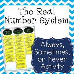 This card sort activity has students categorize 24 statements about the Real Number System as Always True, Sometimes True, and Never True.  The statements relate to the different types of numbers in the Real Number System: Real, Irrational, Rational, Integer, Whole, and Natural.  8.2A Extend previous knowledge of sets and subsets using a visual representation to describe relationships between sets of real numbers