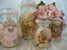 altered bottles and jars - - Yahoo Image Search Results Shabby Chic Jars, Estilo Shabby Chic, Shabby Chic Crafts, Shabby Chic Decor, Mason Jar Crafts, Bottle Crafts, Mason Jars, Vintage Shabby Chic, Vintage Decor