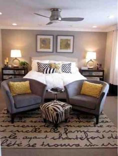 Grey and yellow bedroom - love the color and textures and setup of this room!