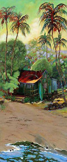 Joe's Beach House, Oil on Canvas by Sarah Howard at Maui Hands Hawaiian Art, Caribbean Art, Art, Hawaii Art, Surf Art, Tropical Art, Beach Art, Island Art, Beautiful Art