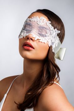 Ivory Lady - blindfold created with soft dotted tulle, beaded corded lace and hand-tied satin ribbons at the back Lace Blindfold, Girls Special Occasion Dresses, Lace Mask, Hidden Face, Beautiful Mask, Black And White Portraits, Bridal Lingerie, Masquerade, Ivory