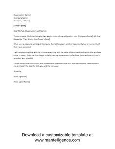 3 Highly Professional Two Weeks Notice Letter Templates  Resignation Letter Templates
