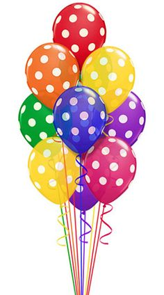 Bright colored balloons with white polka dots. Festive, lively decor for any happy occasion. .