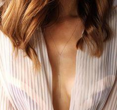 Trendy Gold Vertical Bar Necklace