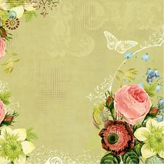 Green Background with roses and butterfly