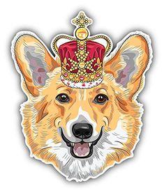 Pembroke Welsh Corgi Dog Head Art Decor Bumper Sticker 4'' x 5''