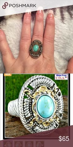 Beautiful 10x7 Turquoise and .925 Sterling Silver Beautiful 10 x 7 Turquoise & .925 Sterling Silver Ring Jewelry Rings