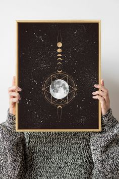 Golden Moon Art Print, Phases of the Moon, Moon Wall Art by InfiniteMantra. Moon Phases Poster, Lunar phases, Moon Phase Pictures, Moon Poster, Boho Moon Art. A one of a kind piece of art that will bring color and life to bedroom, living room, home office, any room. My art is inspired by dreams, taking you to a magical realm where anything is possible. #originalart #artwork #bedroomdecor Contemporary Art Prints, Fine Art Prints, Moon Phases Pictures, Lunar Phase, Moon Moon, Yoga Art, Wall Decor, Wall Art, Beautiful Wall