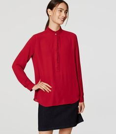 Primary Image of Ruffle Henley Blouse