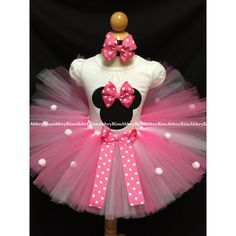 Minnie Mouse Tutu Set Silhouette Pink Bow Pompoms ($45) ❤ liked on Polyvore featuring grey and women's clothing