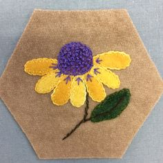 Embroidery Crewel Stitching Society Block made by Karen Bates for Sew Creative Ashland -- Embroidery on Wool Applique Wool Applique Patterns, Felt Applique, Flower Applique, Applique Designs, Embroidery Patterns, Felted Wool Crafts, Felt Crafts, Fabric Crafts, Sewing Crafts
