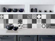 Geometric Graphite Tile Stickers - Kitchen Backsplash Tiles - Bathroom Tile Decals - Pack of 48 -  SKU: GraphiteTiles