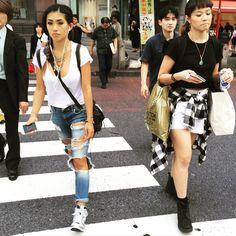 #harajuku #girl #distressed #denim #autumn2015 #trends #tokyofashiontour