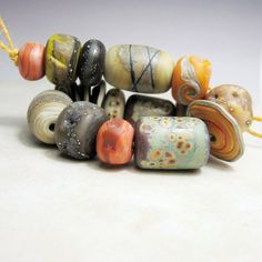 Lampwork Glass Beads Set SRA Matte Etched by StoneDesignsbySheila #lampwork #beads
