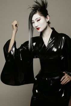 Black vinyl kimono can be incorporated into a range of Halloween looks.. DIY the…