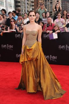 At the premiere of Harry Potter and the Deathly Hallows: Part 2 in New York wearing a Bottega Veneta gown in 2011. See all of Emma Watson's best looks.